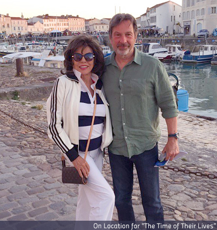 Joan Collins and Michael Brandon while shooting The Time of Their Lives